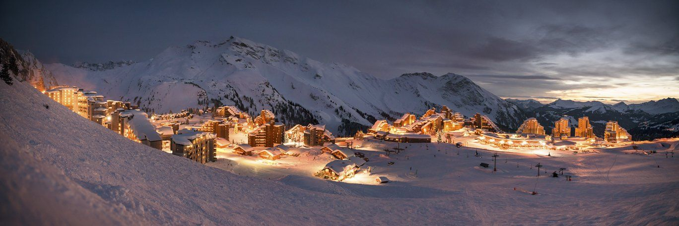 Avoriaz chalets and apartments at night