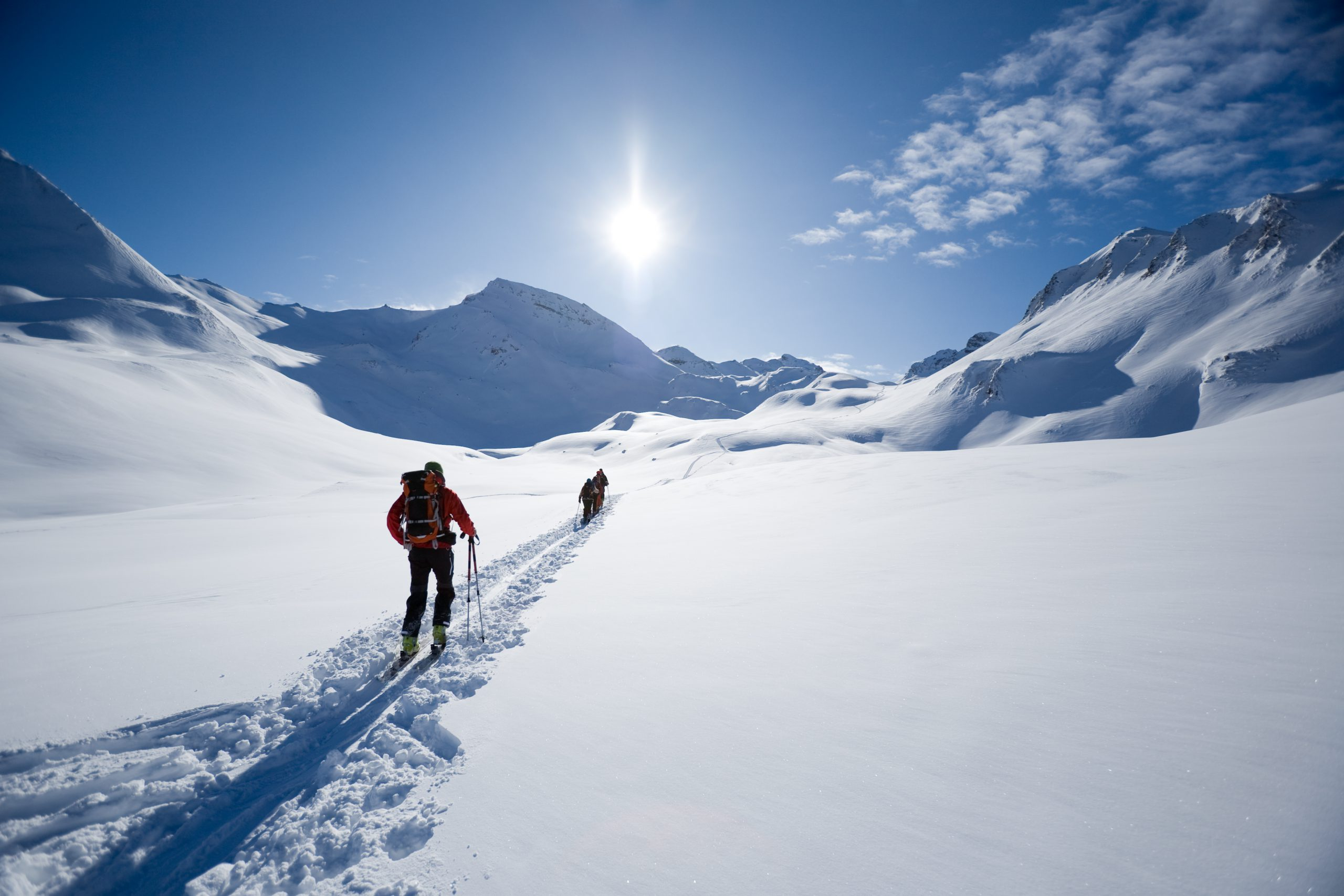 ski touring, ski mountaineering people on its way in the Austrian/Swiss Alps