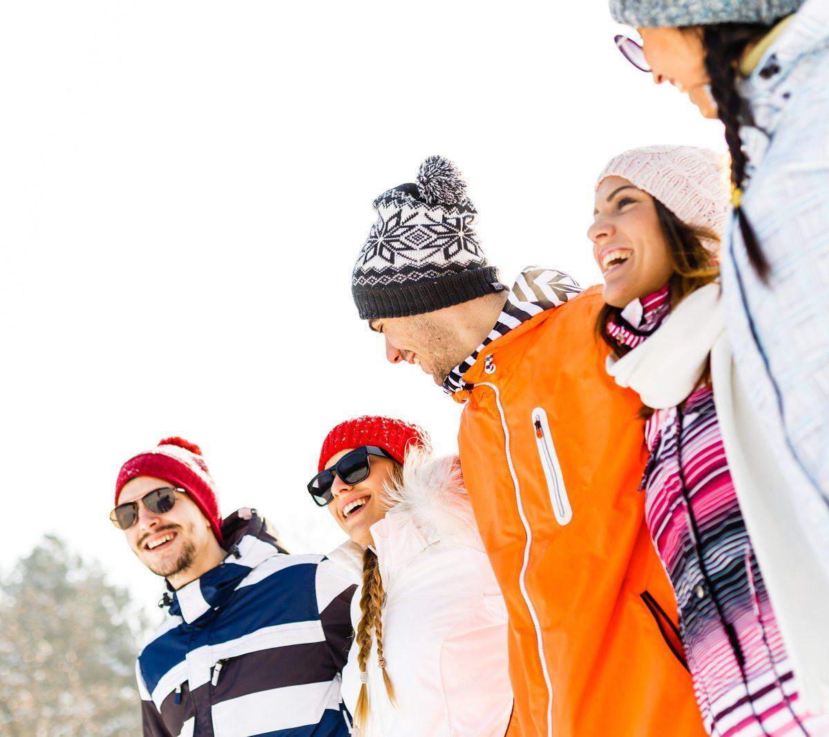 Friends enjoying winter holidays.